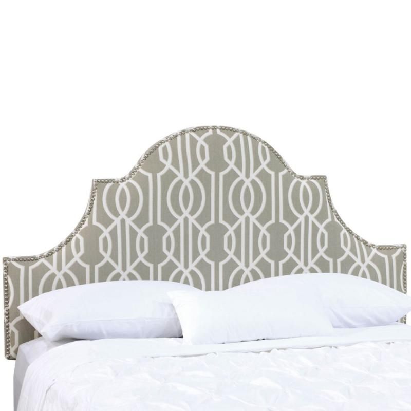 Skyline Full Nail Button High Arch Notched Headboard In Deco Slate