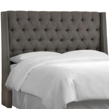 Skyline Full Nail Button Tufted Wingback Headboard In Twill Grey