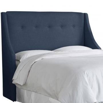 Skyline California King Button Tufted Wingback Headboard In Linen Navy