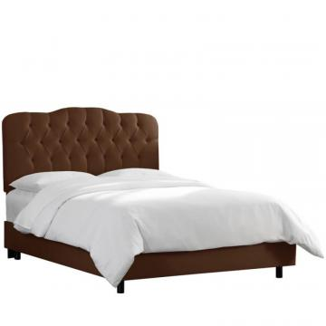 Skyline Twin Tufted Bed In Shantung Chocolate