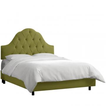 Skyline California King Arched Tufted Bed In Velvet Applegreen