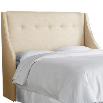 Skyline King Button Tufted Wingback Headboard In Linen Sandstone