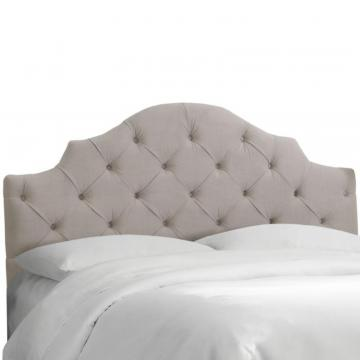 Skyline Full Tufted Notched Headboard In Velvet Light Grey