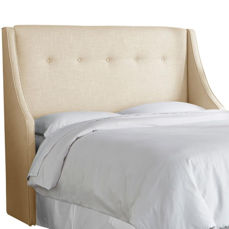 Skyline California King Button Tufted Wingback Headboard In Linen Sandstone