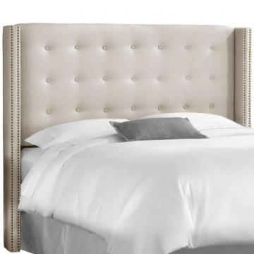Skyline Queen Nail Button Tufted Wingback Headboard In Linen Talc