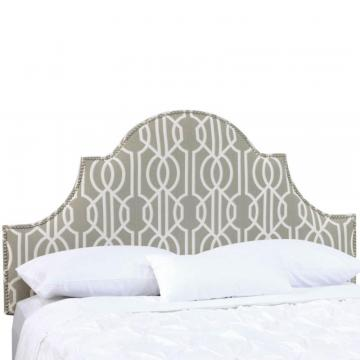 Skyline Twin Nail Button High Arch Notched Headboard In Deco Slate