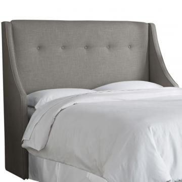 Skyline California King Button Tufted Wingback Headboard In Linen Grey