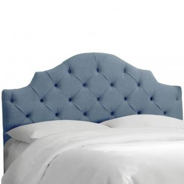 Skyline Full Tufted Notched Headboard In Velvet Ocean