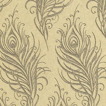 Graham & Brown Quill Gold/Blue Wallpaper