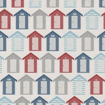 Graham & Brown Beach Huts Red/Blue/Grey Wallpaper