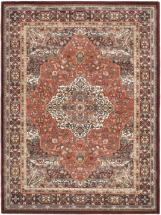 "eCarpet Gallery Medallion Style Copper, Dark Red Machine Made Rug 5'6"" x 7'5"""