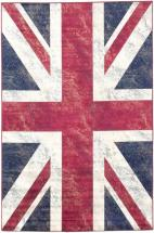 "eCarpet Gallery Union Jack Navy, Red Power Loomed Rug 4'4"" x 6'6"""