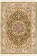 "eCarpet Gallery Hand loomed King David Light Green Silk Rug - 5'3"" x 7'7"""