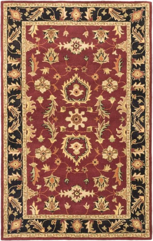 "eCarpet Gallery Timeless Black, Dark Red Hand Tufted Rug 5'0"" x 8'0"""