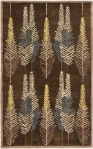 eCarpet Gallery Handmade Leaf Dark Brown Rug - 5'x 8'0""
