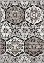 "eCarpet Gallery Crown Black, Light Gray Power Loomed Rug 3'11"" x 5'3"""