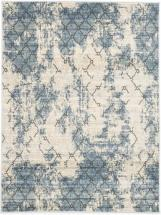 "eCarpet Gallery Impressions Ivory, Light Blue Machine Made Rug 5'3"" x 7'3"""