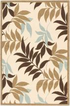 "eCarpet Gallery Verandah Dark Brown, Ivory Machine Made Rug 6'7"" x 9'4"""