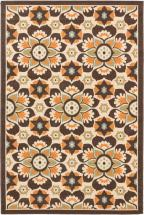 "eCarpet Gallery Tropicana Cream Dark Brown  Rug - 6'7"" x 9'5"""