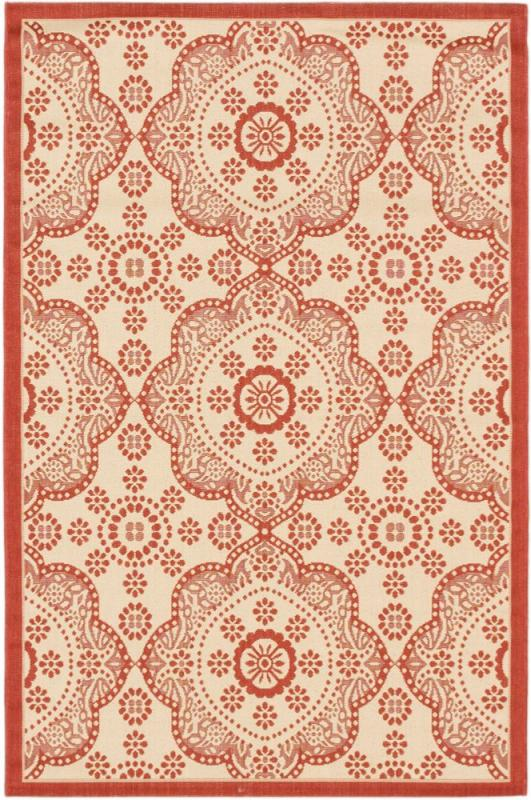 "eCarpet Gallery Ankara Cream, Red Machine Made Rug 3'3"" x 4'9"""