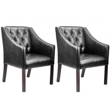 Corliving Antonio Accent Club Chair In Black Bonded Leather, Set Of 2
