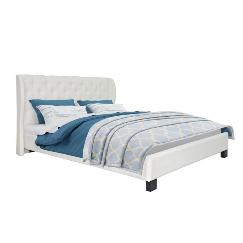 Corliving Fairfield Tufted White Bonded Leather Queen Bed