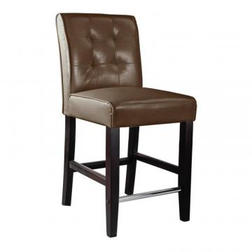 Corliving Antonio Counter Height Barstool In Dark Brown Bonded Leather