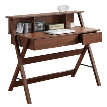 Corliving Folio Warm Oak Three Drawer Desk With Low Profile Hutch