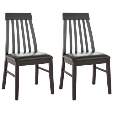 Corliving Dining Collection Tapered Back Dining Chairs In Chocolate Black Bonded Leather, Set Of 2