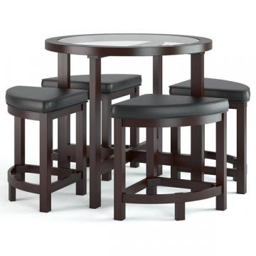 Corliving Belgrove Dark Espresso Stained Dining Table With 4 Stools