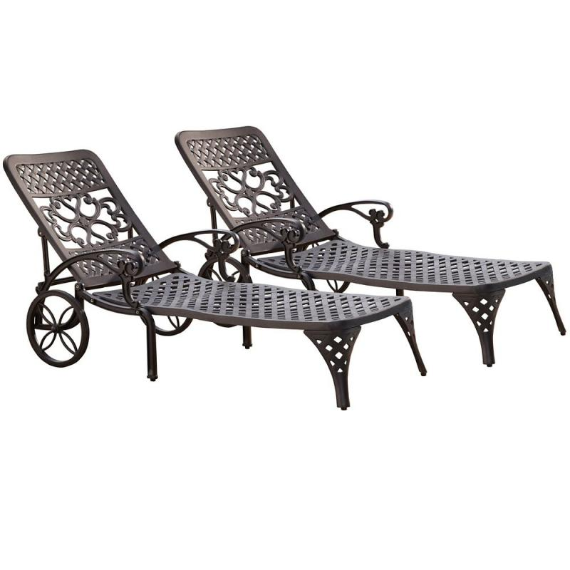 Home Styles Biscayne Black Chaise Lounge Chairs (2)