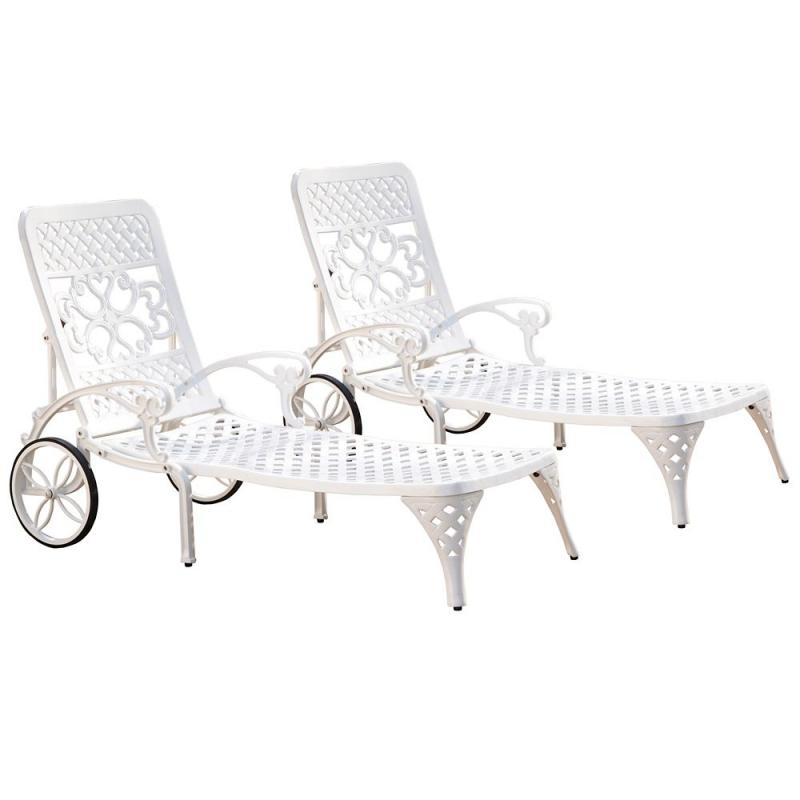Home Styles Biscayne White Chaise Lounge Chairs (2)