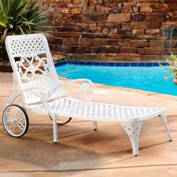 Home Styles Biscayne White Chaise Lounge Chair