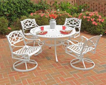 "Home Styles Biscayne 5-Piece Patio Dining Set with 48"" White Table and Four Swivel Chairs"