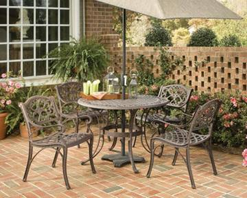 "Home Styles Biscayne 5-Piece Patio Dining Set with 42"" Bronze Table and Four Arm Chairs"