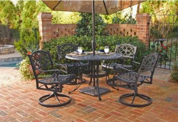 "Home Styles Biscayne 5-Piece Patio Dining Set with 42"" Black Table and Four Swivel Chairs"