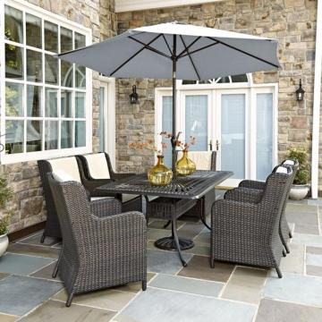 Home Styles Largo 7-Piece Patio Dining Set with Riviera Chairs and Umbrella