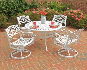 "Home Styles Biscayne 5-Piece Patio Dining Set with 42"" Table and Four Cushioned Swivel Chairs"