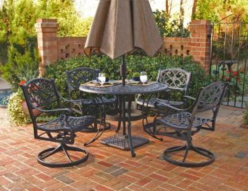 "Home Styles Biscayne 5-Piece Patio Dining Set with 48"" Black Table and Four Swivel Chairs"