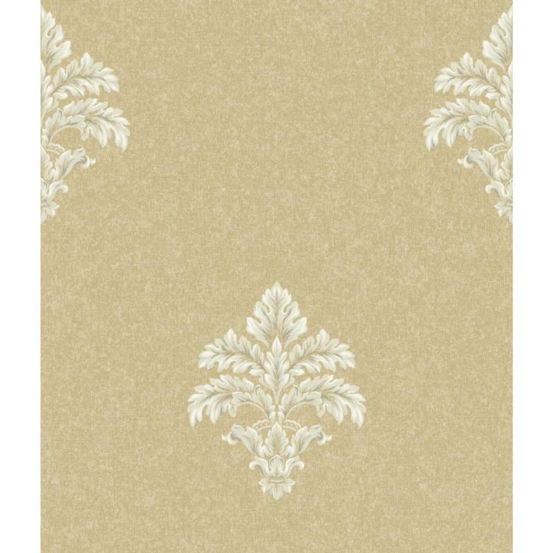 York Saint Augustine Baroque Medallion Fleur De Lis Wallpaper