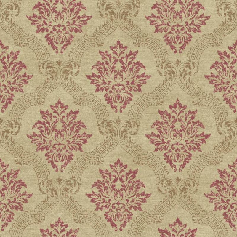 York Sapphire Oasis Framed Damask Wallpaper