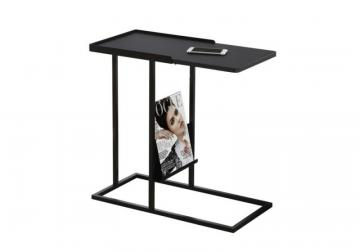 Monarch Accent Table - Black / Black Metal With A Magazine Rack