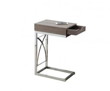 Monarch Accent Table - Chrome Metal / Dark Taupe With A Drawer