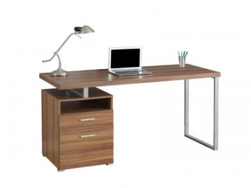 "Monarch Computer Desk - 60"" L / Walnut / Silver Metal"