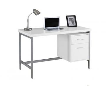 "Monarch Computer Desk - 48"" L / White / Silver Metal"