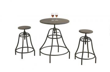 Monarch Dining Set - 3PCS Set / Distressed Brown / Bronze Metal