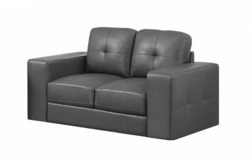 Monarch Love Seat - Charcoal Grey Bonded Leather