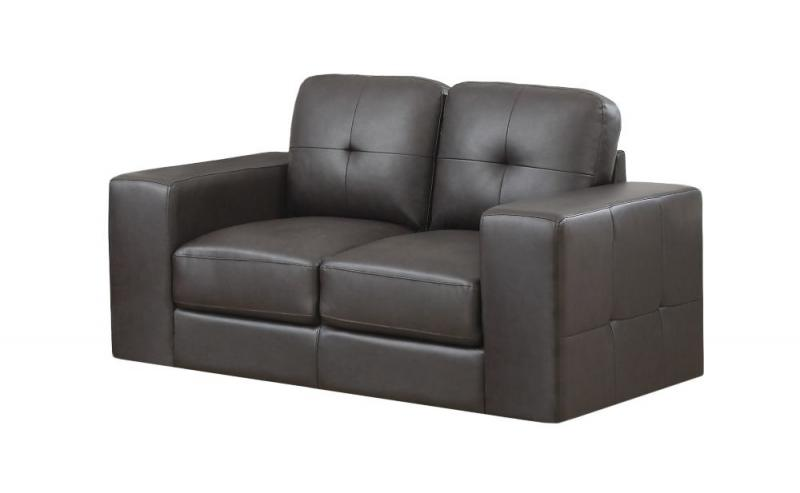 Monarch Love Seat - DARK Brown Bonded Leather