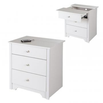 South Shore Vito Nightstand with Charging Station and Drawers, Pure White