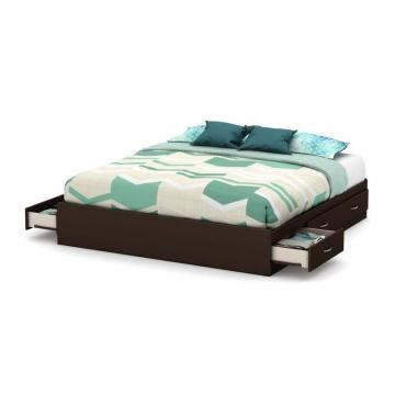 "South Shore Step One King Platform Bed (78"") with 6 Drawers, Chocolate"